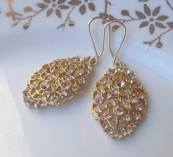 Edwardian Style Gold Tone Filigree Wedding Earrings. Solid Allergy Free 9K Shepherd Hooks. Champagne Coloured Crystals.