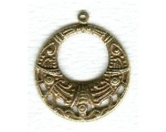 2 Vintage Ox Brass  Hoops - Egyptian Influenced - 25mm (1 inch), Perfect for Earrings