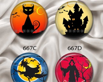 "Scary Halloween - Interchangeable Magnetic Design Inserts - FIT Clique and Magnabilities 1"" Pendant Jewelry Bases...667"