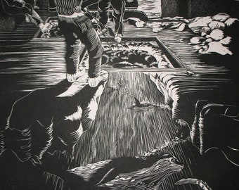 Antarctic Fishing woodcut print
