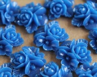 CLOSEOUT - 20 pc. Royal Blue Flower Bouquet Cabochons 16mm | RES-114