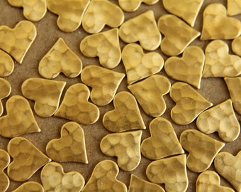 20 pc. Raw Brass Hammered Heart: 8mm by 8mm - made in USA | RB-008