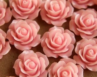 20 pc. Baby Pink Crisp Petal Rose Cabochons 18mm | RES-007