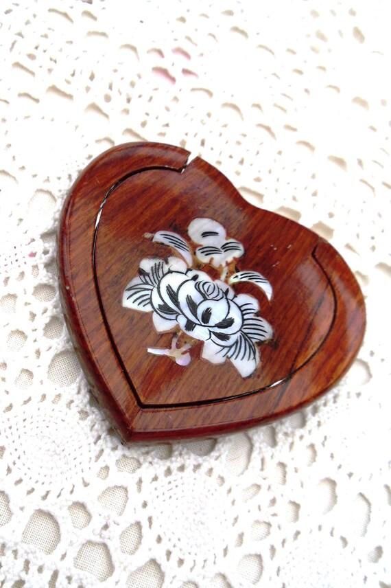 Norwegian Wood Vintage 1970s Heart Shaped Wooden Compact Mirror