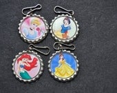 4 Princess Zipper pull party favor, Choose FINISHED or DIY Craft kit,Plain or GLITTER epoxy, party craft idea, for coats,lunchboxes