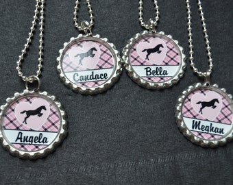4 Personalized Horse Bottlecap Necklace Party Favor, You choose FINISHED or DIY Craft kit, Plain or GLITTER epoxy, class gift idea
