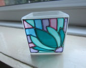 Hand painted glass candle holder