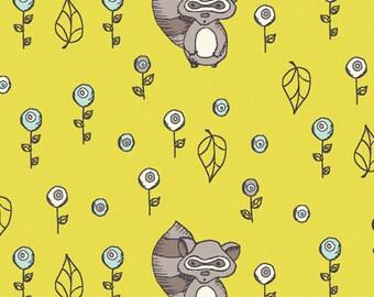 Birch Organic Fabrics Scamper Collection One Yard in Raccoon Acacia
