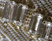 10x5MM Swarovski Crystal 15MM  2 Loop OB Brass Setting Connector