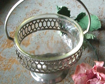Vintage Bowl, Silver, Sugar Caddy, Condiments, Candy Dish, Serving Bowl, Glass Insert, Pedestal,  Handle, Silver Bowl, Glass Bowl, Barware