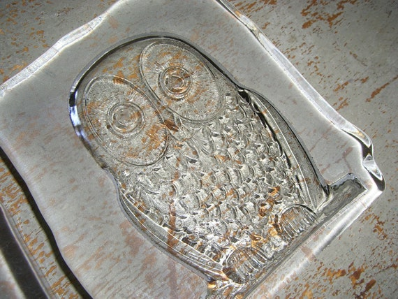 Vintage Glass Owls, Book Ends, Decor, Cut Glass Owls, Set of Two