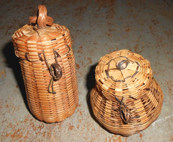 Vintage Baskets Wicker Miniature Set Of Two Small Tiny