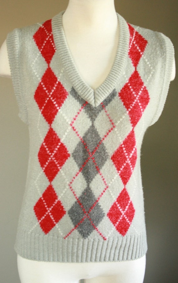 Red Argyle Sweater Vest Nerd Argyle Sweater Vest