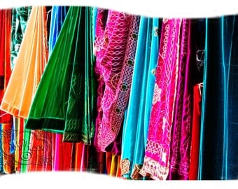 Sari Colorful East Indian Abstract Destination Travel - Fine Art Photograph Print Picture on Dye Infused Aluminum