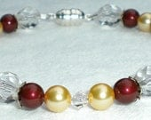 School Colors Maroon and Gold Swarovski Pearl and Crystal Bracelet