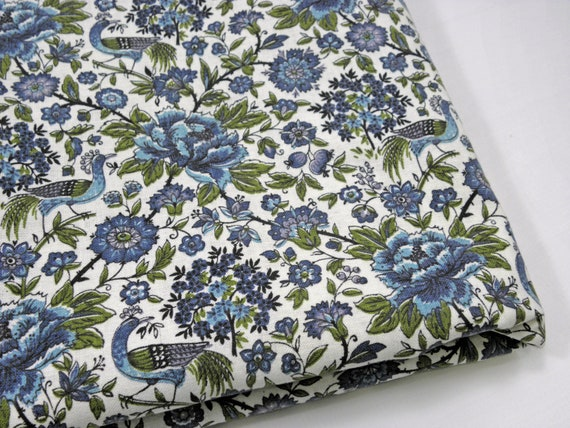Vintage Fabric Blue and Purple with Flowers and Peacocks  3 Yards