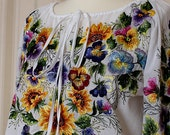 Hand emroidered white floral blouse