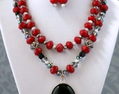 Red & Black Double Layer Onyx Pendant Necklace Set