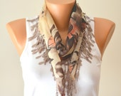 cotton scarf,beige and brown multi color cotton scarf headband necklace cowl with lace edge women scarves summer fashion summer scarves