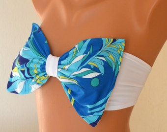 PADDED Bow turquoise floral bandeau bikini top with removable neck strap-Swimwear-Swimsuit-Bathing suit-Brazilian bikini -XS-S-M-L-XL