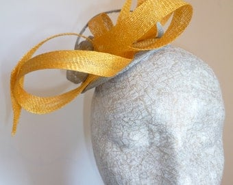 Yellow and Silver Summer Fascinator