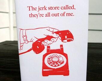 The Jerk Store. Letterpress Apology Card.