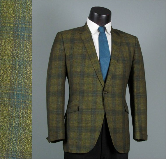 Vintage Mens Blazer Sport Coat Jacket 1960s ROCKABILLY Green