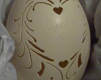 Carved Rhea: Wedding Egg Custom Name Date
