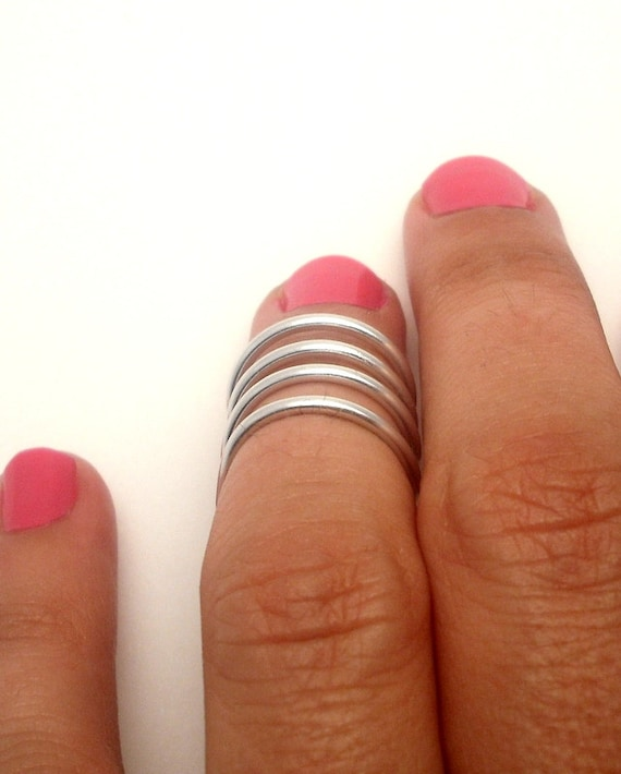 Above the Knuckle Ring -wrap  ring - mate silver plated  ring