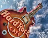 8x10, fine art photography, home decor, dramatic. Hard Rock Cafe, Las Vegas, Guitar, Gibson