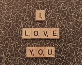 8x10, say it with words, scrabble, love, i love you, hearts, fine art photography, home decor