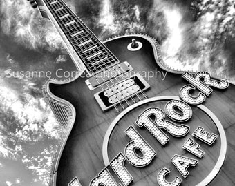 8x10, fine art photography, home decor, black and white, dramatic. Hard Rock Cafe, Las Vegas, Guitar