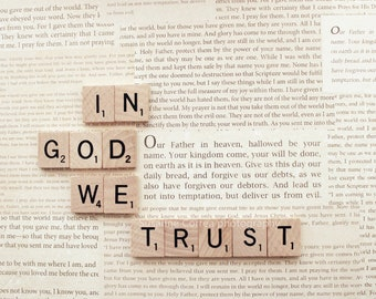8x10, say it with words, scrabble, in god we trust, fine art photography, home decor