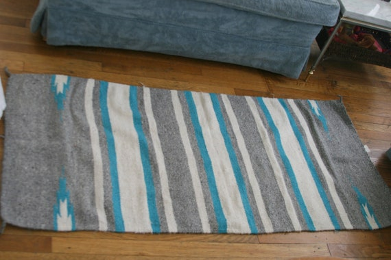 Vintage Native American Woven Cotton Rug Southwestern 1980s Turquoise Gray and White