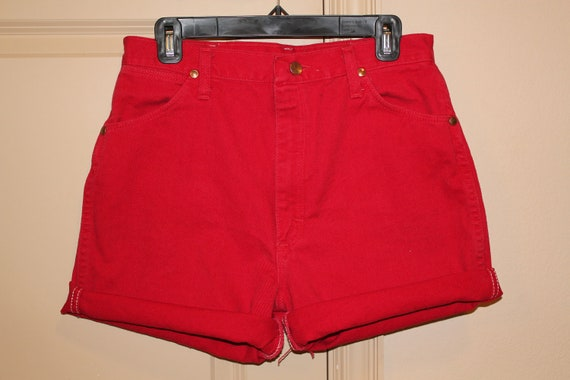 Red High Waisted Denim Shorts - Large