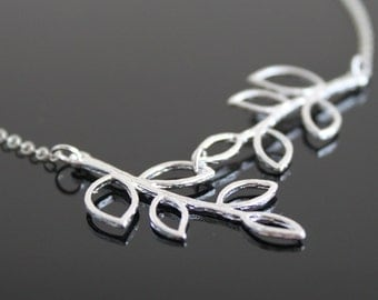 Double twig necklace, silver branch necklace, simple everyday jewelry