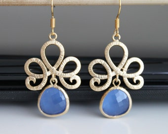 Damask flower gold earrings, blue opal crystal earrings, bridesmaids gift. Wedding jewelry