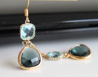 Montana blue light blue crystal earrings, sapphire aquamarine glass earrings,  long dangle earrings, bridesmaid gifts. Wedding jewelry.