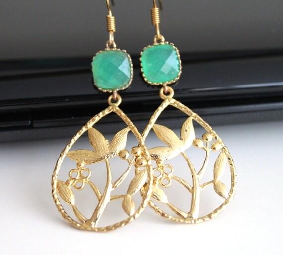 Oriental garden gold earrings, green opal dangle earrings, bridesmaids gift, wedding jewelry