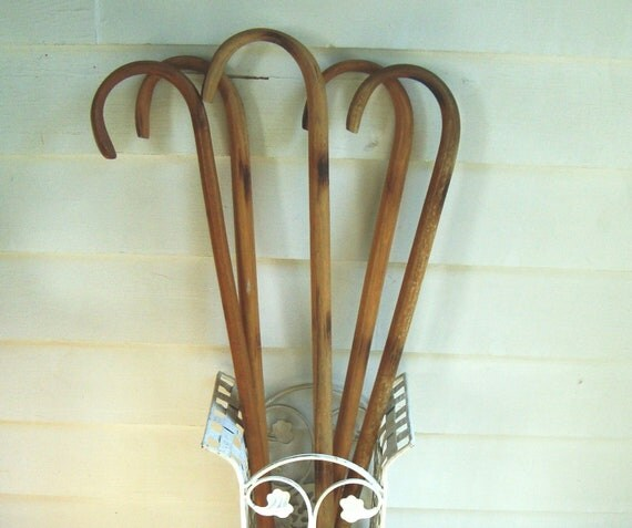 FIVE Vintage Wooden Walking Canes