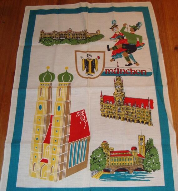 Vintage MUNICH GERMANY Linen Tea Towel