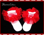 Little Miss Maria Organza Bright Red Newborn Infant Toddlers and Girls SUPER RUFFLE SOCKS by Bloomin Cuties Boutique
