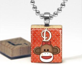 Sock Monkey Custom Initial Scrabble Tile Pendant Necklace by Cheeky Monkey Pendants Gift-Present