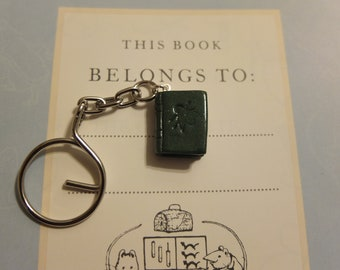 This Book Belongs To - green bee polymer clay keychain 1