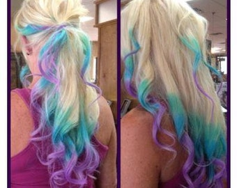 Clip In Rainbow Hair-  Ombre Hair Extension - Weft Clip Extensions - Ombre - Free People -16inch Blonde Hair Only