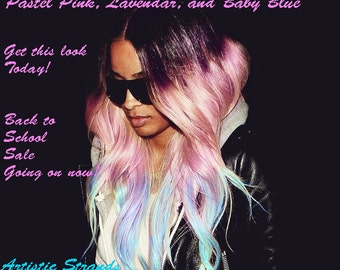 Pastel Lavender / Pink/ Baby Blue / Ombre Hair Extensions / (8) Piece accent set / Real Remy Hair / Silky Straight