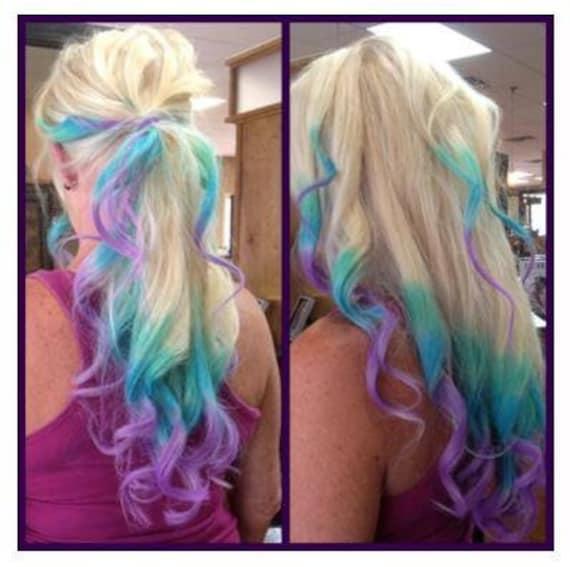 блондинка с синими кончиками волос порно фото