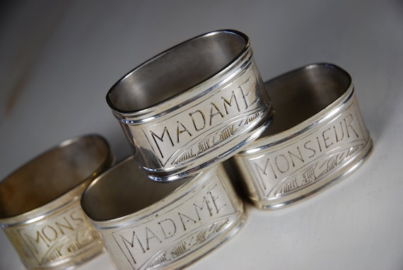 Silver napkin rings- MADAME/ MONSIEUR Hand Engraved Napkin Rings- Silver- Vintage/ set of 4