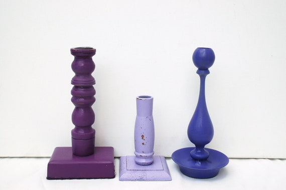 purple candle stick holders upcycled home decor