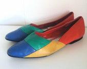 Vintage Leather Colorblock Flats Size 8